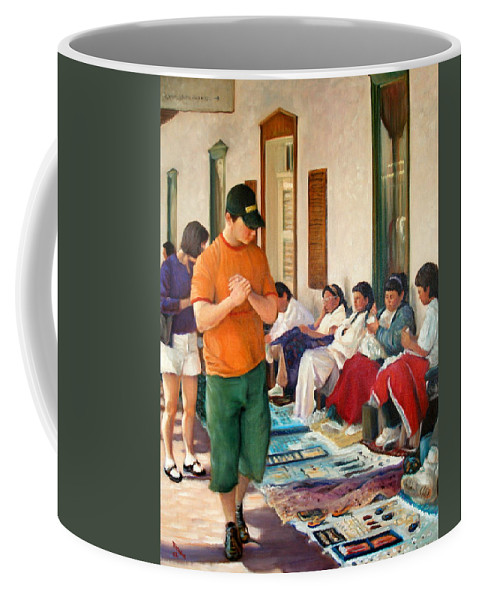 Realism Coffee Mug featuring the painting Indian Market by Donelli DiMaria