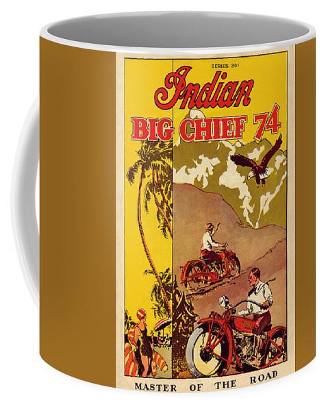 Indian Motorcycle Big Chief 74 Coffee Mug featuring the painting Indian Motorcycle Big Chief 74 by John Farr