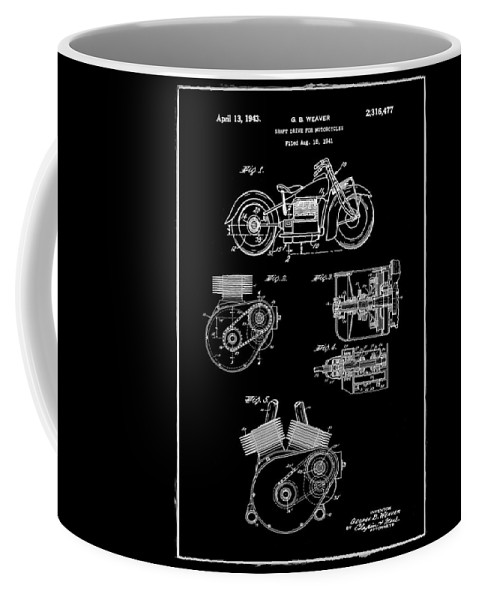 Indian Coffee Mug featuring the photograph Indian Motorcycle Patent 1943 Black by Bill Cannon