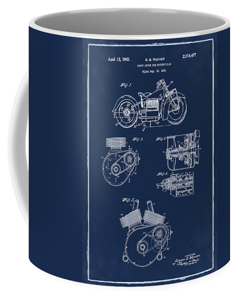 Indian Coffee Mug featuring the photograph Indian Motorcycle Patent 1943 Blue by Bill Cannon