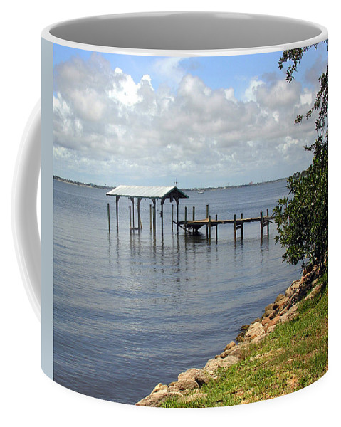 Pier; Wharf; Damaged; Hurricane; Indian; River; Florida; Indialantic; Brevard; Melbourne; Old; Inter Coffee Mug featuring the photograph Indian River In Indialantic Florida by Allan Hughes