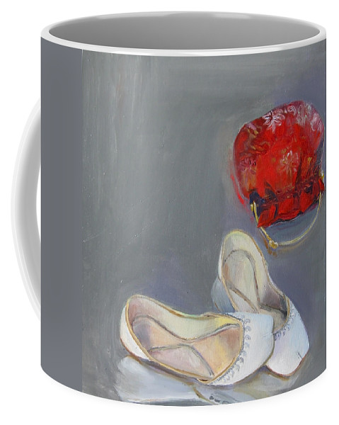 White Coffee Mug featuring the painting White Shoes by Mohita Bhatnagar