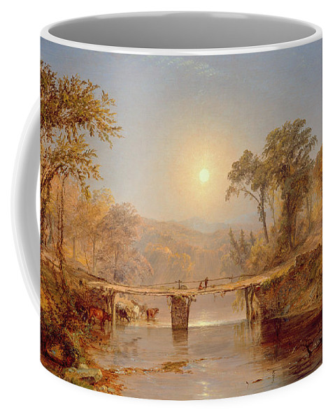 Sun Coffee Mug featuring the painting Indian Summer On The Delaware River by Jasper Francis Cropsey