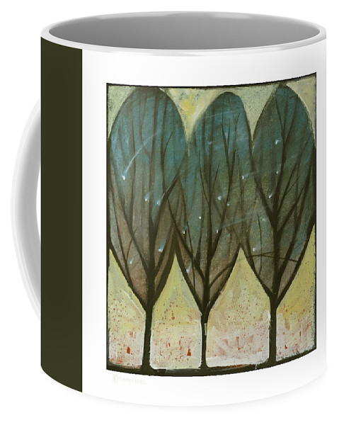 Trees Coffee Mug featuring the painting Indian Summer Snow by Tim Nyberg