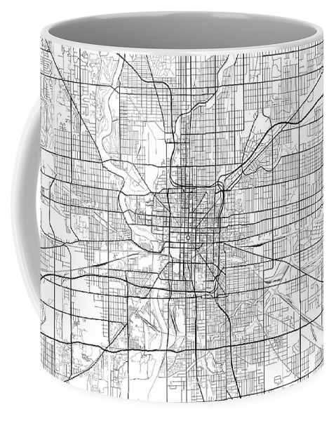Road Map Coffee Mug featuring the digital art Indianapolis Indiana Usa Light Map by Jurq Studio