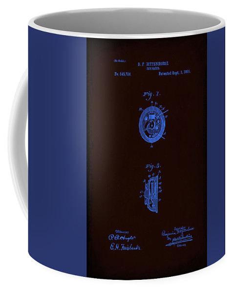 Patent Coffee Mug featuring the mixed media Indicator Patent Drawing by Brian Reaves