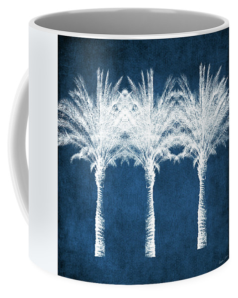 Palm Tree Coffee Mug featuring the mixed media Indigo And White Palm Trees- Art by Linda Woods by Linda Woods