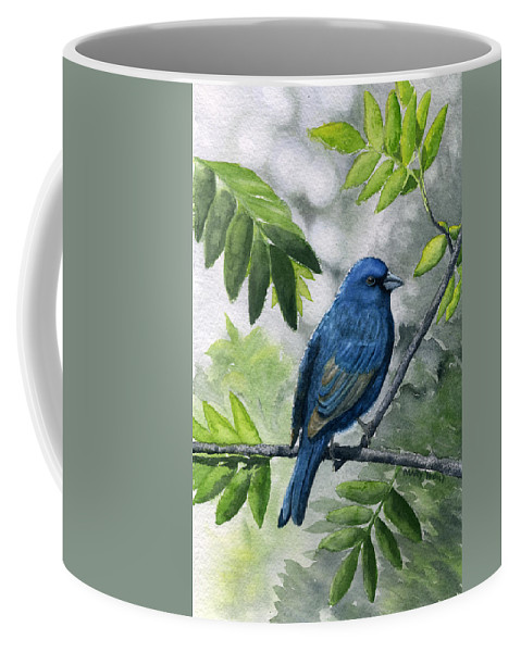 Blue Coffee Mug featuring the painting Indigo Bunting by Mary Tuomi