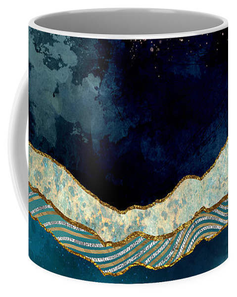 Indigo Coffee Mug featuring the digital art Indigo Sky by Spacefrog Designs
