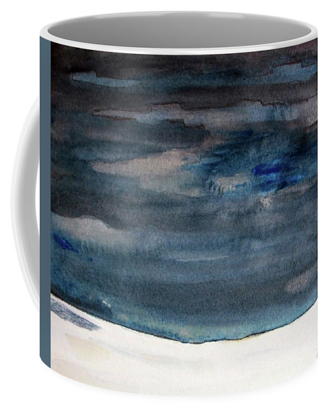 Abstract Coffee Mug featuring the painting Indigo Winter Night by Vesna Antic
