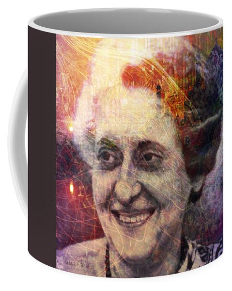 indira Gandhi Coffee Mug featuring the digital art Indira by Barbara Berney