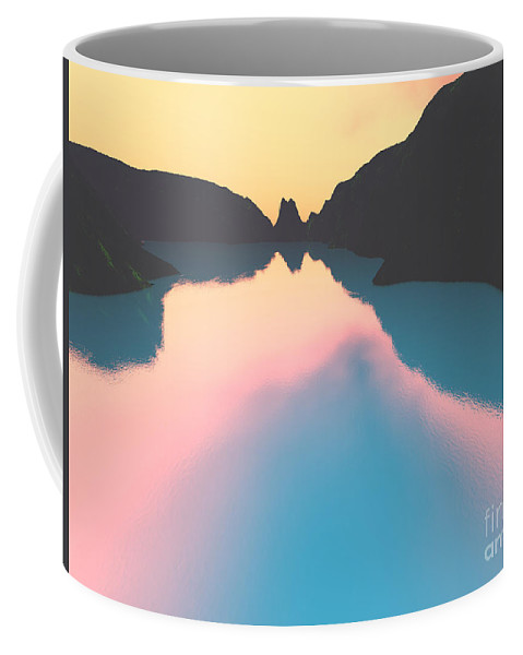 Crater Coffee Mug featuring the digital art Indonesian Crater Lakes II by Gaspar Avila