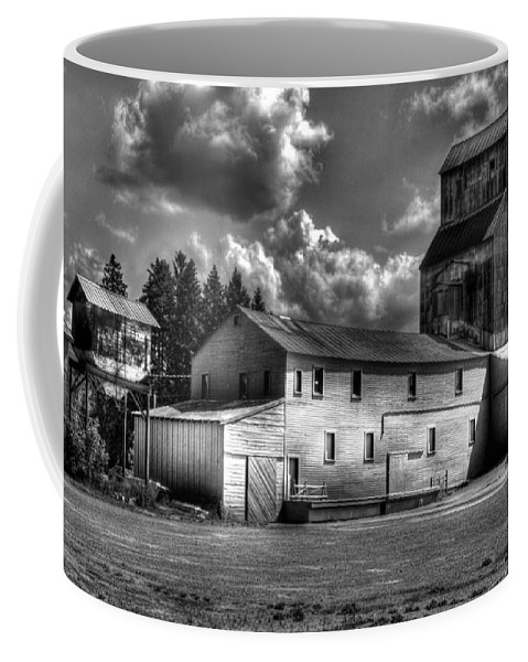 Industrial Landscape In Black And White Coffee Mug featuring the photograph Industrial Landscape In Black And White 1 by Lee Santa