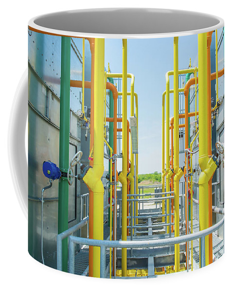 Industrial Coffee Mug featuring the photograph Industrial Piping by Pamela Williams