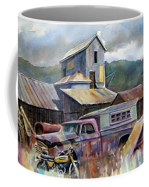 Trucks Coffee Mug featuring the painting Industrial Recreation Park by Ron Morrison