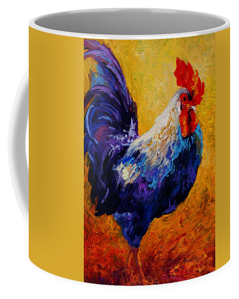 Rooster Coffee Mug featuring the painting Indy - Rooster by Marion Rose