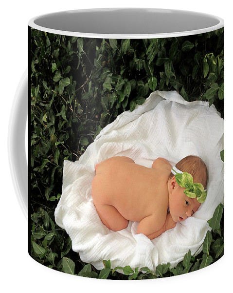 Infant On Ivy Vines Coffee Mug featuring the photograph Newborn Infant Lying In Ivy by Ginger Wakem