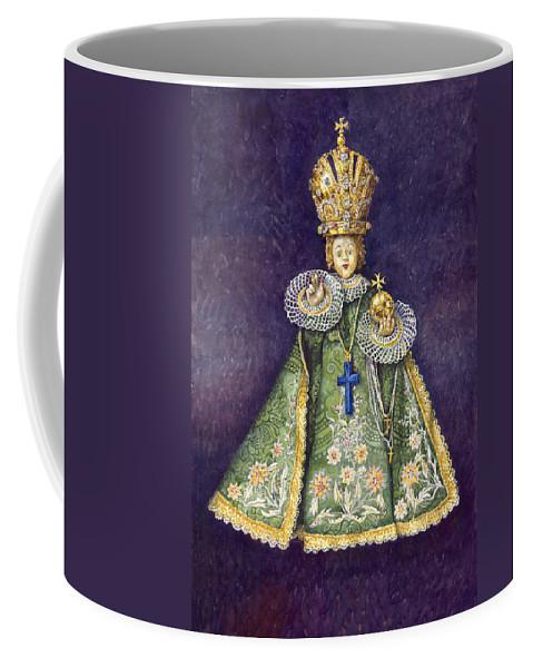 Watercolour Coffee Mug featuring the painting Infant Jesus Of Prague by Yuriy Shevchuk