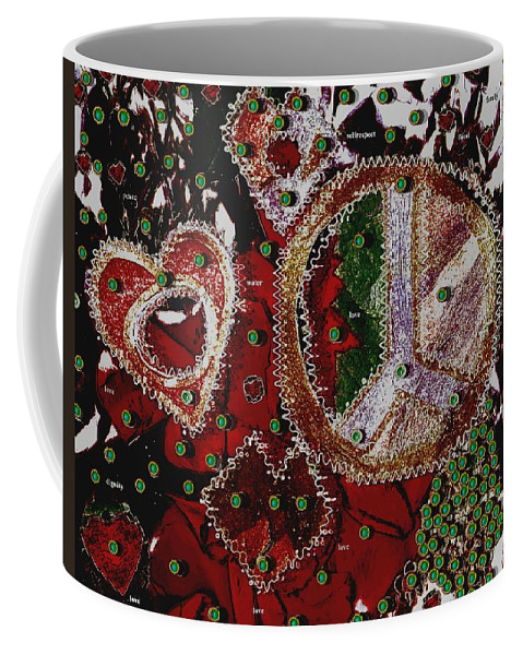 Hearts Coffee Mug featuring the mixed media Ingredients For A Good Life by Pepita Selles