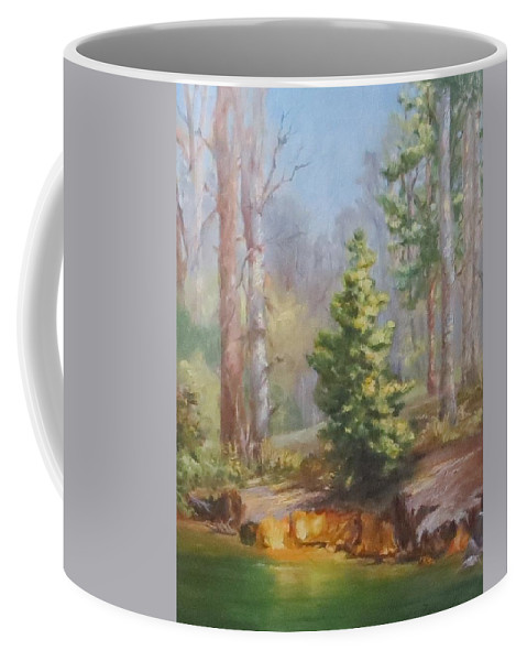 Inlet Coffee Mug featuring the painting Inlet,winter's End, Mcdowell by Inka Zamoyska