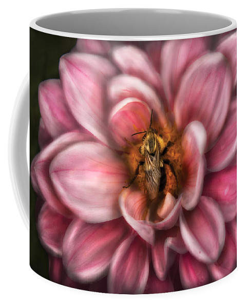 Savad Coffee Mug featuring the photograph Insect - Bee - Center Of The Universe by Mike Savad