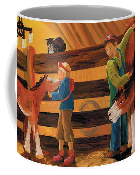 Animals Coffee Mug featuring the painting Inside The Barn by Donna Hall