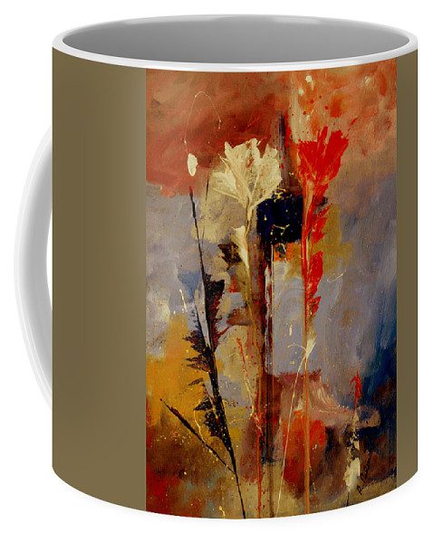 Abstract Botanical Floral Flowers Color Red Pink Blue White Yellow Orange Purple Coffee Mug featuring the painting Inspire Me by Ruth Palmer