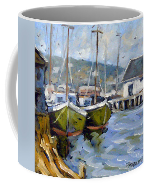 Fishing Boats; Seascape Coffee Mug featuring the painting Inspired By E Gruppe by Richard T Pranke