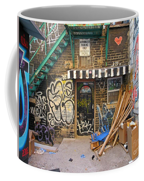Garbage Cans Coffee Mug featuring the photograph Interesting Backdoor by John Malone
