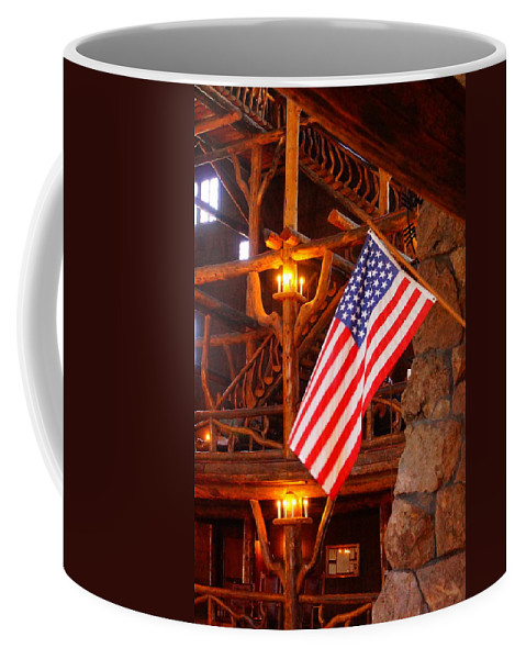 American Flag Coffee Mug featuring the photograph Interior Of Old Faithful Inn by Beth Collins