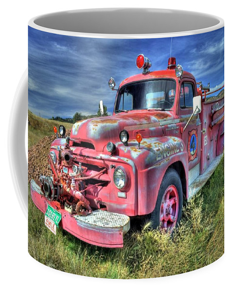 Fire Truck Coffee Mug featuring the photograph International Fire Truck by Tony Baca