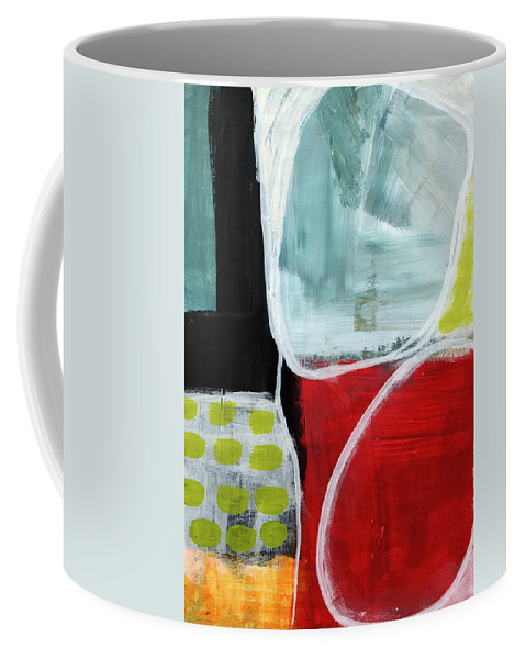 Abstract Coffee Mug featuring the painting Intersection 37- Abstract Art by Linda Woods