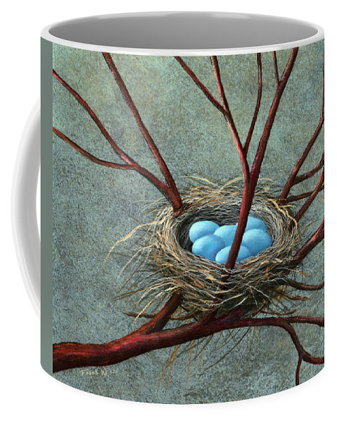 Birds Nest Coffee Mug featuring the painting Intertwined by Frank Wilson