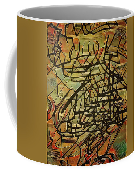 Asemic Coffee Mug featuring the painting Intervention 7 by Philip Openshaw