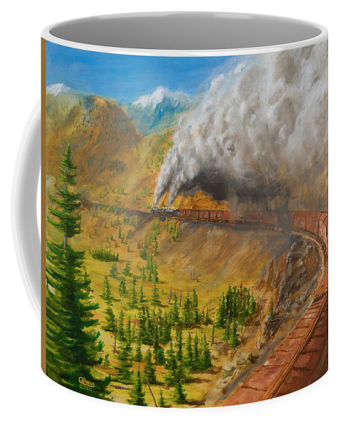 Train Coffee Mug featuring the painting Into The Front Range by Christopher Jenkins