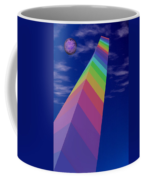 Monolith Coffee Mug featuring the digital art Into The Future - Rainbow Monolith And Planet by Mitch Spence