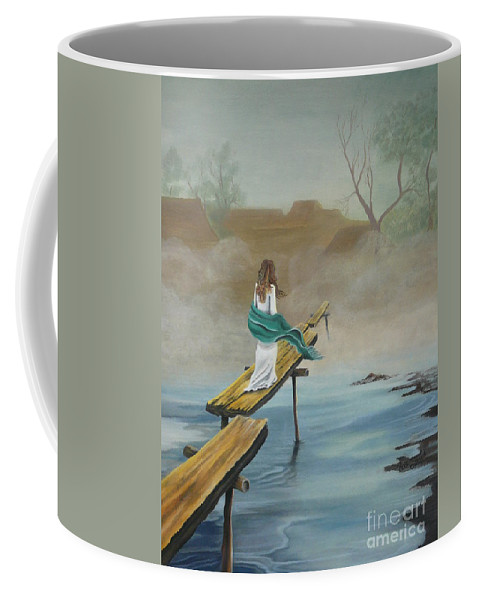 Water Coffee Mug featuring the painting Into The Mist by Kris Crollard