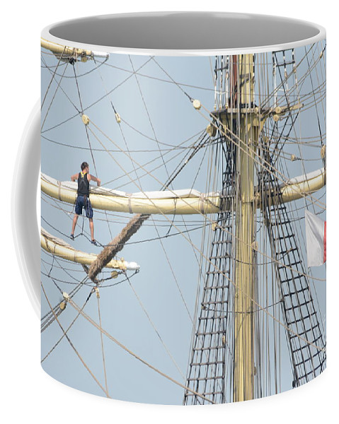 Tall Ship Coffee Mug featuring the photograph Into The Rigging by Charles Owens