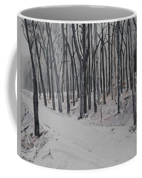 Landscape Coffee Mug featuring the painting Into The Woods by Denise Morgan