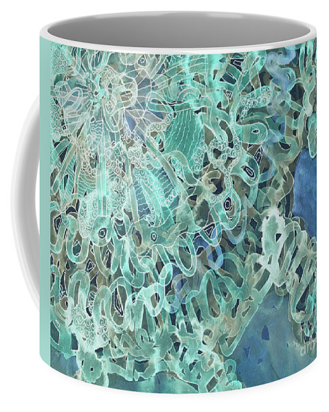 Intuition Coffee Mug featuring the digital art Intuition Unraveled Deep Ocean by Lauri Crowe