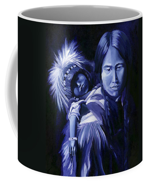 Native American Coffee Mug featuring the painting Inuit Mother And Child by Nancy Griswold