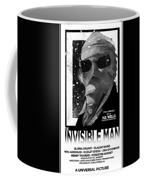 Universal Studios Art Coffee Mug featuring the mixed media Invisible Man Movie Poster 1933 by Sean Parnell