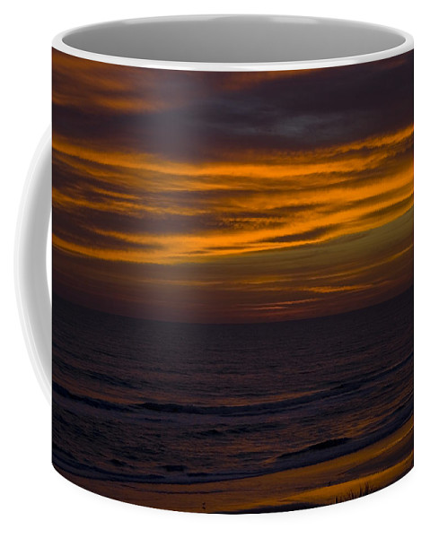 Beach Ocean Water Wave Waves Sky Cloud Clouds Sunrise Gold Golden Reflection Sand Coffee Mug featuring the photograph Invisible Presence by Andrei Shliakhau