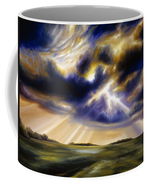 Sunrise; Sunset; Power; Glory; Cloudscape; Skyscape; Purple; Red; Blue; Stunning; Landscape; James C. Hill; James Christopher Hill; Jameshillgallery.com; Ocean; Lakes; Storms; Lightning; Rain; Rays; God Coffee Mug featuring the painting Iowa Storms by James Christopher Hill