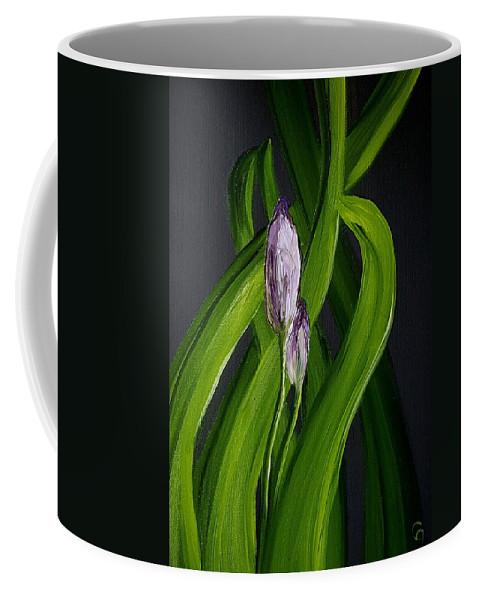 Iris Buds Coffee Mug featuring the painting Iris Buds 49 by Cheryl Nancy Ann Gordon