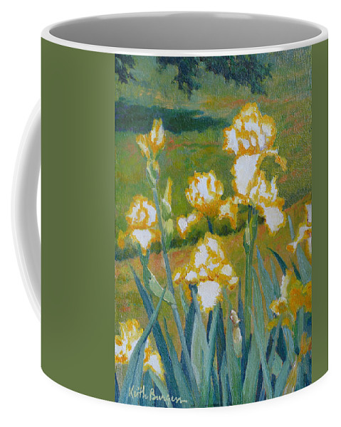 Impressionism Coffee Mug featuring the painting Iris Etude by Keith Burgess