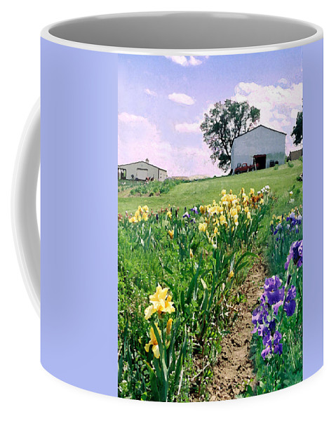 Landscape Painting Coffee Mug featuring the photograph Iris Farm by Steve Karol