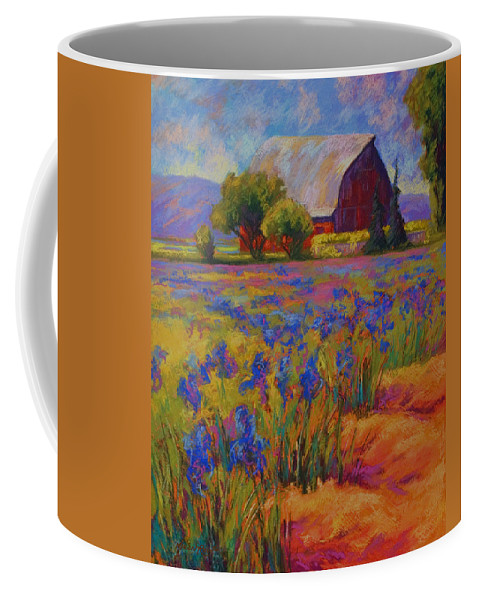 Pastel Coffee Mug featuring the painting Iris Field by Marion Rose