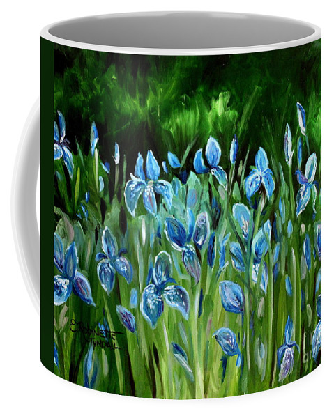 Flowers Coffee Mug featuring the painting Iris Galore by Elizabeth Robinette Tyndall