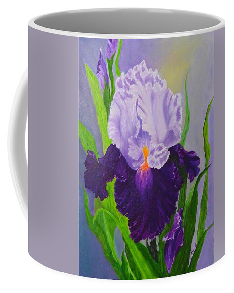 Floral Painting Coffee Mug featuring the painting Iris by Peggy Holcroft